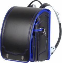 ふわりぃ コンビカラー ランドセル ライオンモチーフ エンブレム 仕様 黒×ロイヤルブルー 耐傷素材レミニカ使用 A4フラットファイル対応