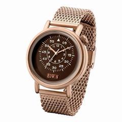 新品未使用 エドウィン EDWIN  メンズ腕時計 EQUATOR 3針 ゴールドメッシュベルト クオーツ クロネコDM便で送料無料 EW1G012M0074