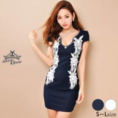 ドレス ミニ [SML私サイズ] サイドコードレース袖付きタイトミニドレス [Queen] dazzy 2/8入荷