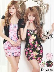 ドレス ミニ [SML私サイズ] 花柄 レイヤード風タイトミニドレス / 薔薇 袖 キャバドレス [Queen] dazzy 2/1入荷