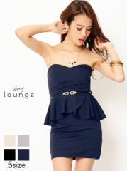ドレス ミニ [SML私サイズ] 細ベルト付ペプラムタイトワンピース / ミニドレス [lounge] dazzy