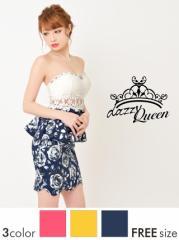 ドレス ミニ ウエスト透けレース薔薇柄ベアペプラムタイトミニドレス / 花柄 ローズ キャバドレス [Queen]