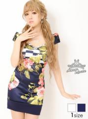 [Mサイズ] デコルテビジュー大判花柄タイトミニドレス / 袖 幾何学柄 キャバドレス [Queen] dazzy