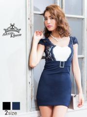 [SM/Mサイズ] レースレイヤード風フェイクベルト付バイカラー袖付きタイトミニドレス [Queen] 1/27入荷 2/3