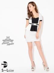 ドレス ミニ [SML私サイズ] ベルトモチーフ付バイカラータイトミニドレス / 袖 キャバドレス [Queen] dazzy 2/10入荷
