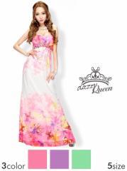 ドレス ロング [SML私サイズ] 蝶々群がる才色兼備Ladyビジュー付シフォンフレアロングドレス [Queen]