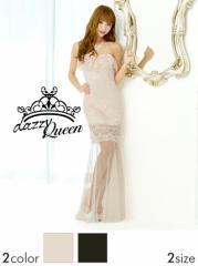[SM/Mサイズ] パール&ラインストーン付背中編み上げ脚透けレースベアロングドレス [Queen]
