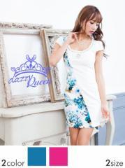 [SM/Mサイズ] ビジュー&パール付花柄タイトミニドレス / 袖 [Queen] dazzy