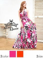 [SM/Mサイズ] カラービジュー付花柄ホルターフレアロングドレス / キャバドレス [Queen] dazzy