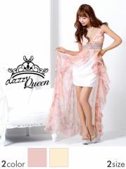 [SM/Mサイズ] 薔薇柄シフォンキャミインナーミニロングドレス / 花柄 ローズ 中ミニドレス [Queen]