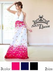[SM/Mサイズ] セクシー背中見せ×花柄バタフライプリーツシフォンホルターロングドレス [Queen]