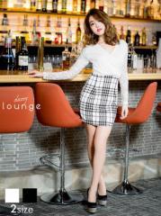 [SM/Mサイズ] チェック柄千鳥柄透け袖長袖付きタイトワンピース / ミニドレス [lounge] 2/6新作