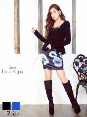 [S/Mサイズ]ニット花柄長袖付きぺプラムタイトミニドレス [lounge] 2/13新作