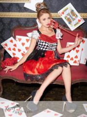 ハロウィンコスプレ衣装「鏡の国のアリス ハートの女王風」2点セット / 女 大人 キャラクター ペアOK