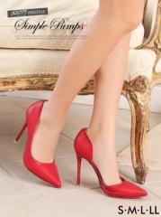 [4サイズ S/M/L/LL] 10cmヒール シンプルピンヒールスムースポインテッドトゥパンプス / 靴 dazzystoreオリジナル