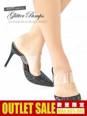 [outlet/62%OFF][3サイズ S/M/L] ラメポインテッドトゥミュールパンプス / 靴 dazzystoreオリジナル