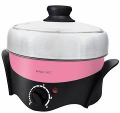 DRETEC (煮る・焼く・蒸すの1台3役) 電気グリル鍋 マルチポット ピンク MC-801PK