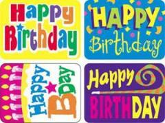 (送料無料)Trend Enterprises トレンド Applause Stickers Happy Birthday 【教材 ごほうびシール】 お誕生日シール (ステッカー100枚入