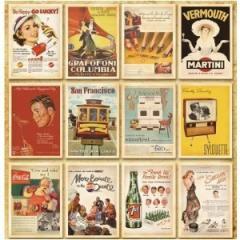 【送料無料】ヴィンテージ風 レトロアメリカン ポスター柄 ポストカード 32枚セット