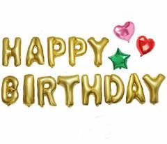 パーティ お誕生日に オリジナルポンプ付き【 HAPPY BIRTHDAY アルファベット バルーン 】+【 星型 ハート型 バルーン 】アルミ風船 デコ