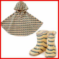 LATAKKO キッス゛ホ゜ンチョ ウェーフ゛(100cm)&レインブーツ(16cm) ポンチョ キッズ 100cm 子供 長靴 キッズ 16cm