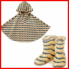 LATAKKO キッス゛ホ゜ンチョ ウェーフ゛(100cm)&レインブーツ(17cm) ポンチョ キッズ 100cm 子供 長靴 キッズ 17cm