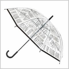 傘 ビニール 58cm レディース メンズ HAPPY CLEAR UMBRELLA WORD BLACK