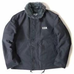 USタイプ 「N-1」 DECK ジャケット ブラック(裏ボアグレー) 34(S)サイズ〔レプリカ〕