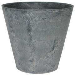 底面給水型植木鉢/プランター アートストーン 【ラウンド型/27cm】 底栓付 グレー(灰) 〔ガーデニング用品/園芸〕