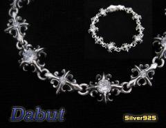 【DB】シルバーブレスレット(4)CZ/白男性用ブランドシルバー925銀 【メイン】送料無料