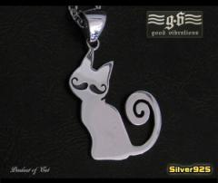 【GV】ひげネコのペンダント(1)/シルバー925製動物猫【メイン】送料無料