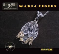 【GV】マリアと天使のペンダント(1)SV+B/(メイン)シルバー925銀ネックレス送料無料
