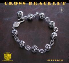 クロスボールブレスレット(1)/(メイン)シルバー925製ブレスレット銀・十字架クロス送料無料