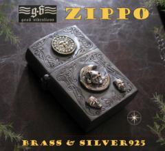 【GV】ZIPPOライター・仮面舞踏会SV+B/(メイン)金色・真鍮製(ブラス製)・シルバー925製銀・ドクロ・スカルGOOD VIBR送料無料