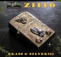 【GV】ZIPPOライター・プレイハンド・ハト・スカル/(メイン)金色・真鍮製(ブラス製)・シルバー925製銀・ドクロ・ス送料無料