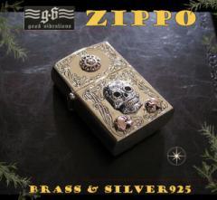 【GV】ZIPPOライター・メキシカンスカルと太陽/(メイン)金色・真鍮製(ブラス製)・シルバー925製銀・ドクロ・スカルG送料無料