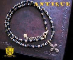 ネックレス・アンティーク(10)/古美加工ネックレス天然石ブラックスピネル ヘマタイト金色・真鍮製・ブラスネック送料無料