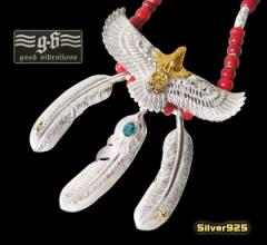 【GV】レザーホワイトハートネックレス(2)/・フェザーネックレス・ビッグイーグル・羽根・動物・鳥・天然石・トパーズ・シルバー925(送