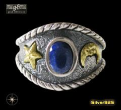 【GV】ラピスラズリと三日月の指輪(2)フリーサイズ17号/(メイン)シルバー925 銀製メンズ リング送料無料