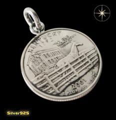 本物のアメリカのコインペンダント(4)ケンタッキー州/(メイン)コイン・硬貨・ペンダント・ネックレス送料無料
