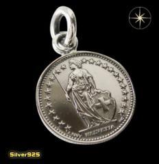 本物のスイスのコインペンダント(4)/(メイン)ヨーロッパ・コイン・硬貨・ペンダント・ネックレス送料無料