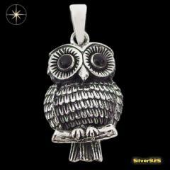 フクロウのペンダント(3)オニキス/(メイン)・シルバー925銀・ペンダント・動物・鳥・天然石・ネックレス送料無料