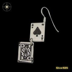 トランプ・エースとキングが連なるピアス(1)/(メイン)・片耳売り・シルバー925銀・ピアス・イヤリング・エース・送料無料