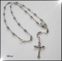 ロザリオネックレス(1)60cm/十字架 ・シルバー925銀シルバーチェーン別送料無料