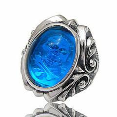 シルバーアクセサリー/シルバーリング/指輪/メンズ/スカルリング/ブルー・青/r0491