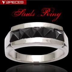 シルバーアクセサリー/シルバーリング/指輪/メンズ/リング/スタッズ/ブラックジルコニア/r0595