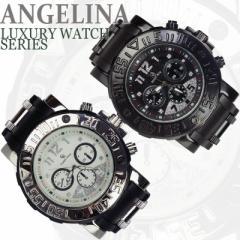 メンズ Captain Bling デビッドラグジュアリー腕時計 スポーティーラメ クロノグラフラバーベルトウォッチアナログ とけい電池