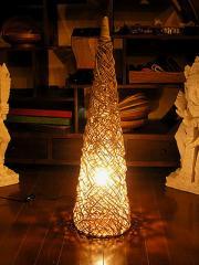 【送料無料】ラタンのランプ コーン型Mサイズ[80cm]/アジアン雑貨/バリ雑貨