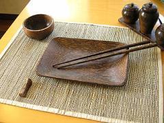 ココナッツの四角皿 長方形 20x14cm【アジアン雑貨】【バリ雑貨】【エスニック】