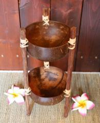 ココナッツの小物入れ足付き2段/アジアン雑貨/バリ雑貨
